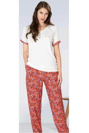 1086 Çiçek Desenli Ince Yazlık Kadın Pijama Takımı resmi