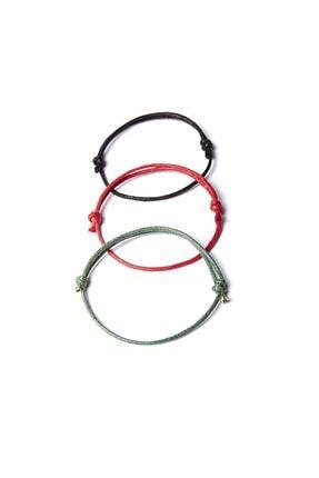 Chill & Feel Kalın Ip - Siyah, Kırmızı, Yeşil 3lü Bileklik 0