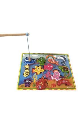 WoodyLife Ahşap Balık Tutma Oyunu 12li Ip Dizme Bultak Çocuk Oyuncak 0