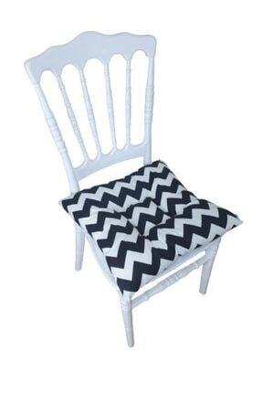 ALTINPAMUK Pofidik Zigzag Siyah Sandalye Minderi 42x42 Cm Duck Kumaş 0