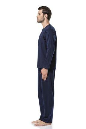 Pierre Cardin Erkek Uzunkollu Lacivert Penye Pijama Takımı 5454 1