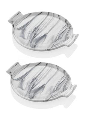 SETABIANCA Mermer Görünümlü 2li Pasta Sunum Tabağı 21 Cm 0