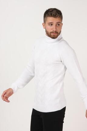 Tena Moda Erkek Beyaz Balıkçı Boğazlı Yaka Reglan Kol Normal Fit Triko Kazak 3