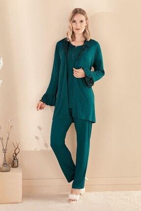 Lohusa Sepeti Fc Fantasy 1329 Francesca Zümrüt Yeşil Sabahlıklı Lohusa Pijama Takımı 2