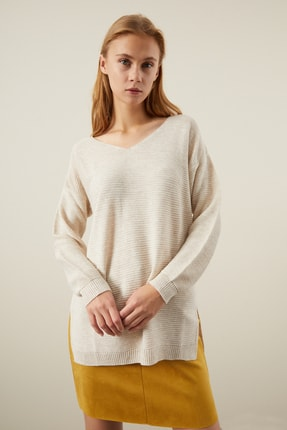 Tena Moda Kadın Taş V Yaka Yanı Yırtmaçlı Basic Triko Kazak 0