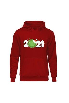 Fandomya Yılbaşı Virus 2021 Kırmızı Kapşonlu Hoodie Sweatshirt 0