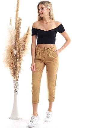 Cotton Mood 20343111 Viskon Flamlı Fermuarlı Fleto Cepli Havuç Pantolon Bisküvi 3
