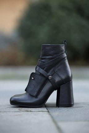Kadın Siyah Deri Topuklu Bot Siyah Topuklu Bot