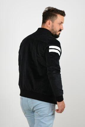 Edwox Kolları Şeritli Kadife Slim Fit Mevsimlik Ceket Siyah 2