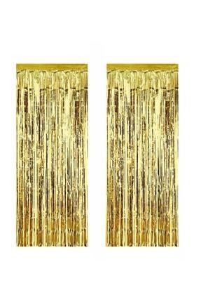 ELITETIME 2 Adet Kapı Perdesi Kapı Banner Fon Süsü Metalize Altın 0