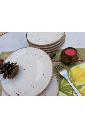 Tulü Porselen Reaktif 46 Krem Pasta Tabağı Takımı 3