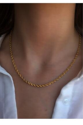 Serpil Jewellery Kadın Altın Sarısı Çelik Burgu Zincir 0