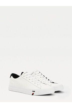 Tommy Hilfiger Erkek Beyaz Sneaker Corporate Deri Sneaker FM0FM02983 0
