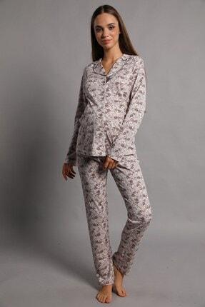 Lohusa Sepeti Valerie Önden Düğmeli Pijama Takımı Kahve 1