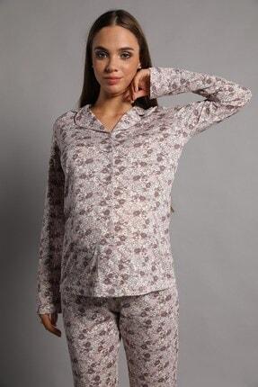Lohusa Sepeti Valerie Önden Düğmeli Pijama Takımı Kahve 4