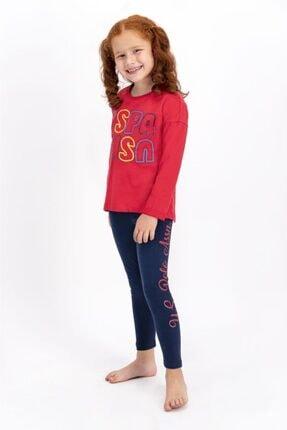 US Polo Assn Açık Kırmızı Lisanslı Kız Çocuk Tayt Takım 0
