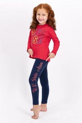 US Polo Assn Açık Kırmızı Lisanslı Kız Çocuk Tayt Takım 1