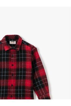 Koton Erkek Çocuk Kırmızı Klasik Yaka Ekoseli Uzun Kollu Gömlek 2