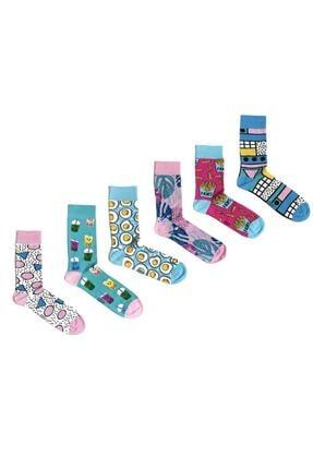 Ozzy Socks 6' Lı Organik Pamuklu Dikişsiz Kadın Asorti Çok Renkli Desenli Çorap 0