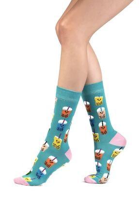 Ozzy Socks 6' Lı Organik Pamuklu Dikişsiz Kadın Asorti Çok Renkli Desenli Çorap 1
