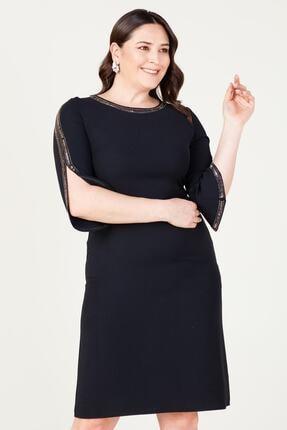 MI Kadın Siyah Uzun Kol Taşlı Elbise 20y..elb.71025.01 1