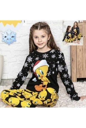 Lolliboomkids Kız Çocuk 2'li Kol Paça Manşetli Siyah Sarı Renk Kar Desen Tweety Pijama Takımı 0