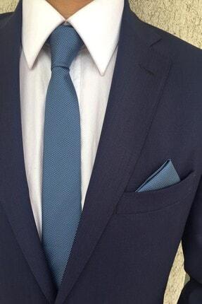 Kravatistan Açık Mavi Düz Kravat Mendil Seti 0