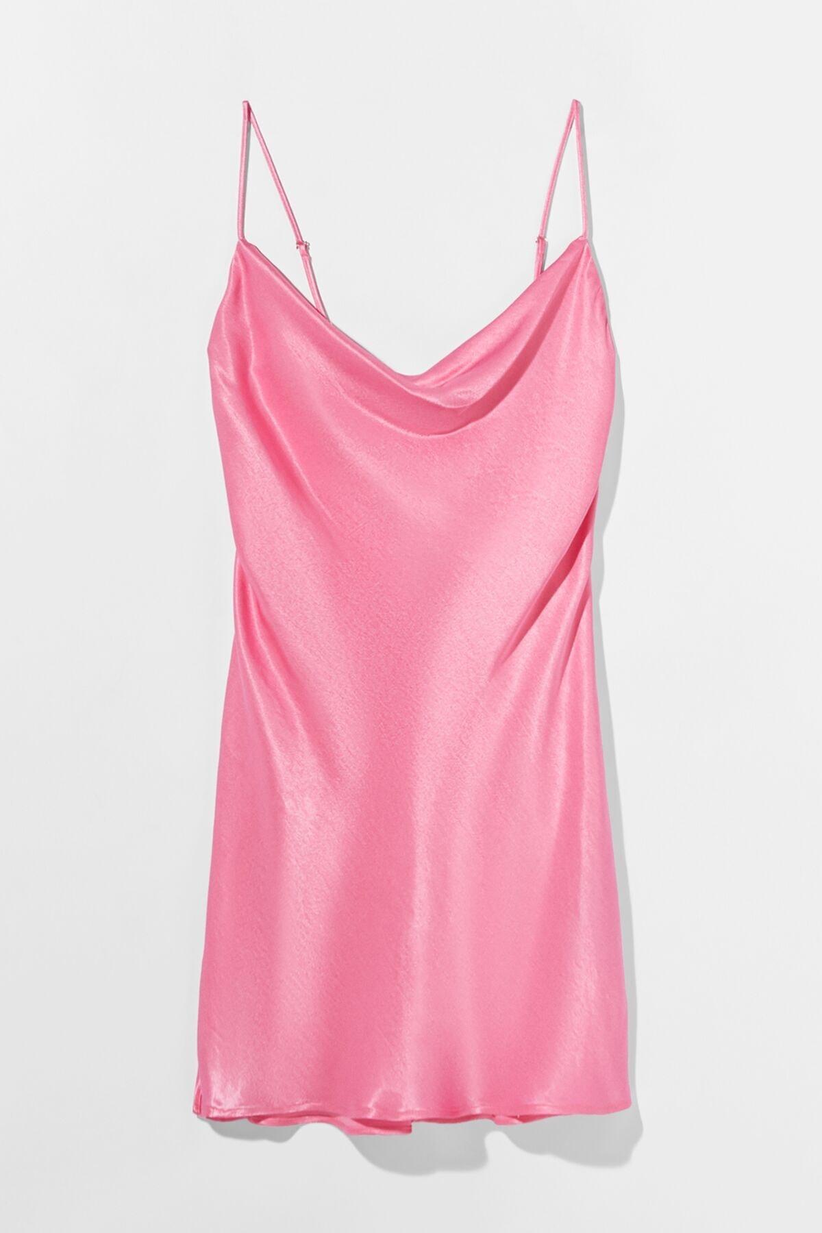 Bershka Kadın Fuşya Saten Mini Slip Elbise 00581168 4