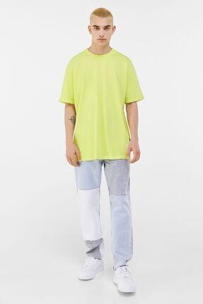 Bershka Erkek Lime Long Fit T-shirt 3