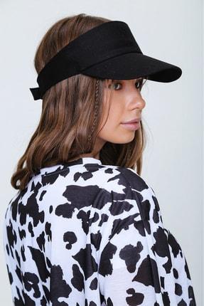 Trend Alaçatı Stili Kadın Siyah Tenis Şapkası ALC-A2197 0