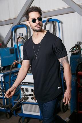 Sateen Men Erkek Siyah Kısa Kol Long Kesim Basic T-Shirt 1
