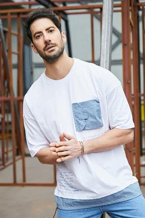 Sateen Men Erkek Beyaz Cepli T-Shirt 1