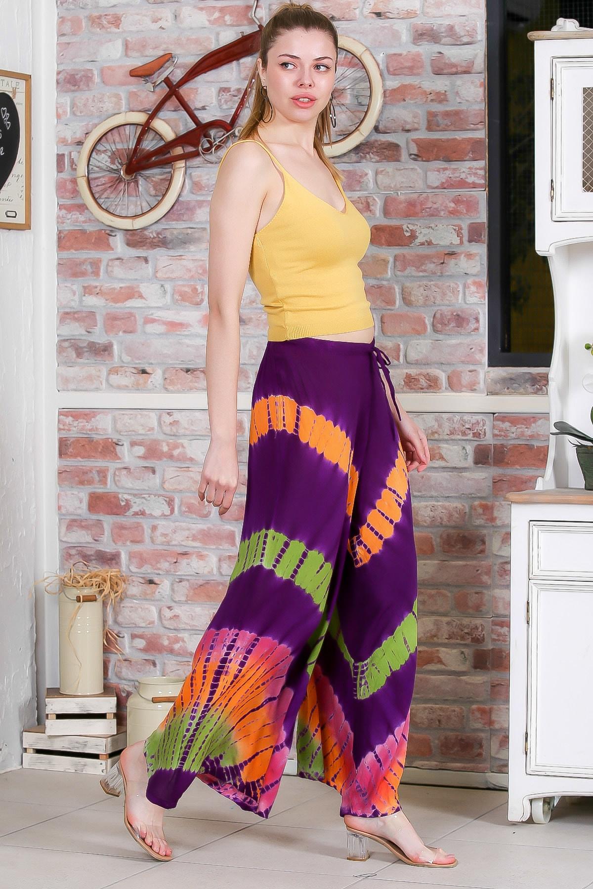 Chiccy Kadın Mor Batik Desenli Bol Paçalı Dokuma Pantolon M10060000PN98897 3