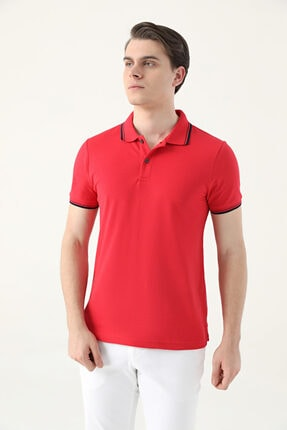 D'S Damat Ds Damat Slim Fit Kırmızı Pike Dokulu T-shirt 2