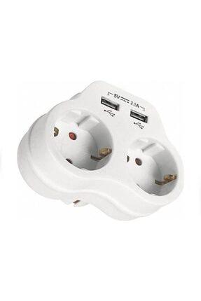 VİKO Beyaz 2'li Topraklı ve 2,1 Amper 2 Usb Çıkışlı Fiş Priz Hızlı Şarj Cihazı 1