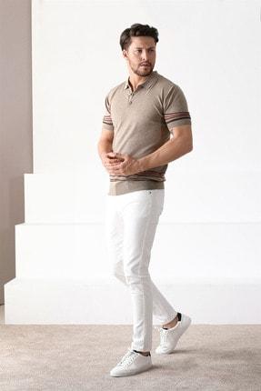 Ferraro Erkek Bej Polo Yaka Düğmeli Pamuk Triko Tshirt 1