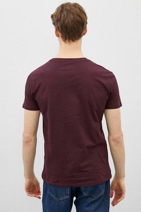Koton Erkek Bordo Şarap T-Shirt 3