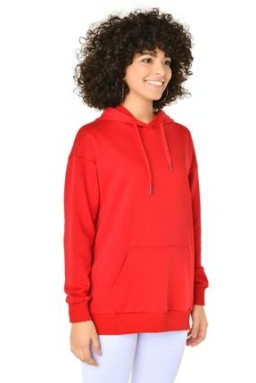 bilcee Kırmızı Kadın Kapüşonlu Sweatshırt GW-8785 2