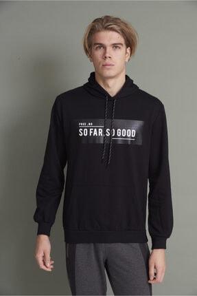 Tena Moda Erkek Siyah Kapşonlu Kanguru Cepli So Far So Good Baskılı Sweatshirt 0