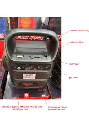 Polygold Bluetooth Hoparlör Taşınabilir Kablosuz Wireless Speaker-el Fenerli-usb -sd Kart Mikrofon Girişli 4