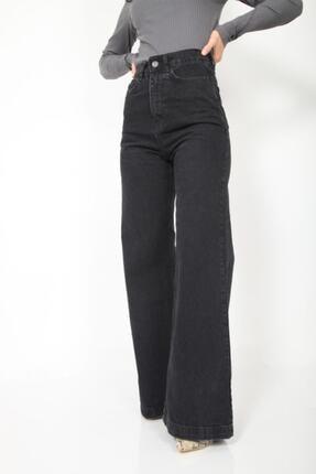 MADAME X Kadın Siyah Bol Paça Ekstra Yüksek Bel Kot Pantolon 4