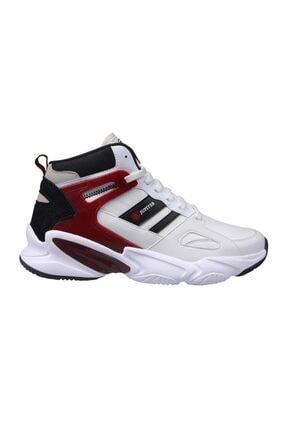 Erkek Bilek Boy Beyaz-bordo Basket Ayakkabısı - Erkek Ayakkabı 201-1401mr-650 resmi