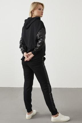 ELBİSENN Yeni Model Kadın Yanları Parlak Garnili Ikili Spor Takım ( Siyah ) 2