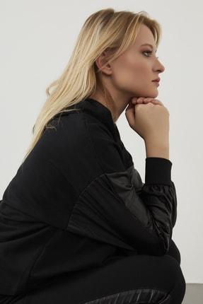 ELBİSENN Yeni Model Kadın Yanları Parlak Garnili Ikili Spor Takım ( Siyah ) 4