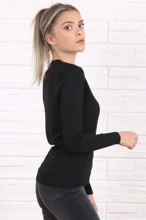 Arlin Kadın V Yaka Uzun Kol Siyah Triko/kazak 1