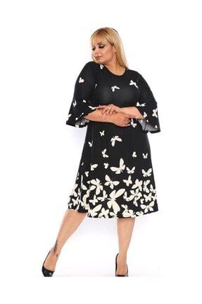 Şirin Butik Kadın Siyah Kelebek Desen Volan Kol Krep Elbise 2