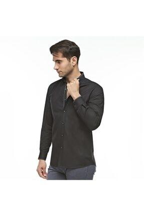 Otto Moda Siyah Casual Erkek Gömlek Yaka Desenli 1