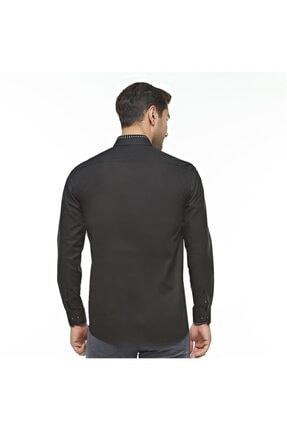 Otto Moda Siyah Casual Erkek Gömlek Yaka Desenli 2