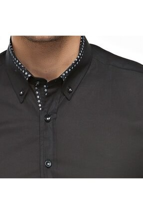 Otto Moda Siyah Casual Erkek Gömlek Yaka Desenli 4