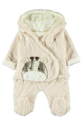 Bebek Kapüşonlu Kundak Tulum 3-12 Ay Bej resmi